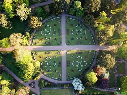 Abbey Gardens flower beds from above